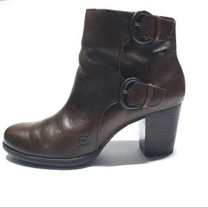 Born Brown Leather Double Buckle Stack Heel Boots